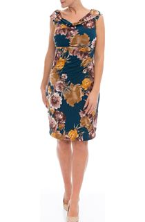 Floral Cowl Neck Sleeveless Midi Dress