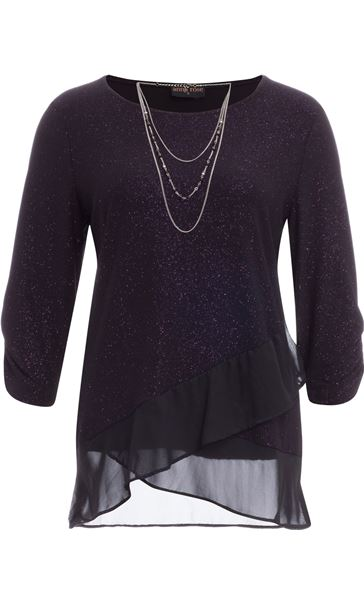 Anna Rose Glitter Asymmetric Top with Necklace Black/Dark Violet