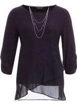 Anna Rose Glitter Asymmetric Top with Necklace Black/Dark Violet - Gallery Image 1