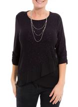 Anna Rose Glitter Asymmetric Top with Necklace Black/Dark Violet - Gallery Image 2