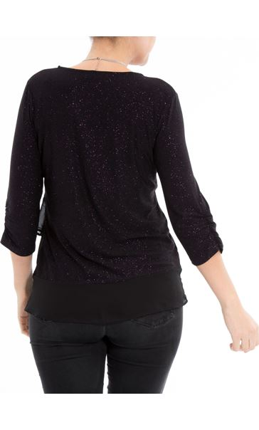 Anna Rose Glitter Asymmetric Top with Necklace Black/Dark Violet - Gallery Image 3