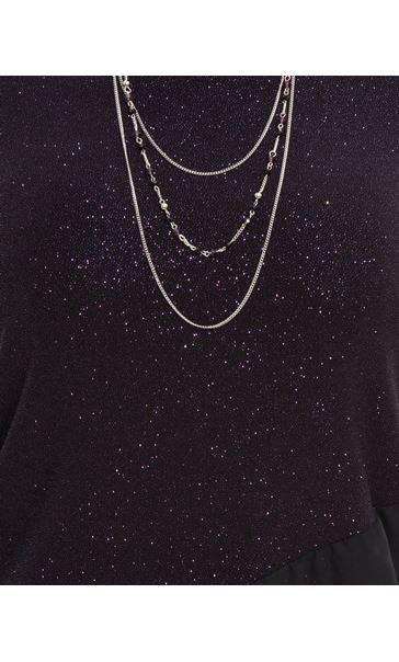 Anna Rose Glitter Asymmetric Top with Necklace Black/Dark Violet - Gallery Image 4