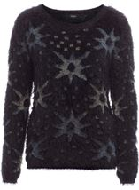 Eyelash Knitted Star Top Black - Gallery Image 4