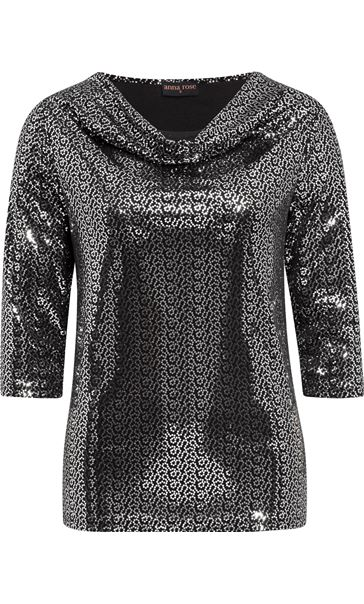 Anna Rose Sparkle Cowl Neck Top Black/Silver