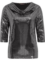 Anna Rose Sparkle Cowl Neck Top Black/Silver - Gallery Image 1