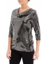 Anna Rose Sparkle Cowl Neck Top Black/Silver - Gallery Image 2
