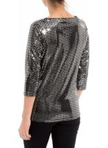 Anna Rose Sparkle Cowl Neck Top Black/Silver - Gallery Image 3