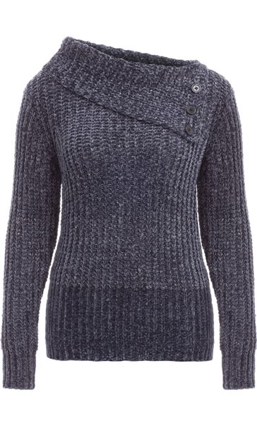 Long Sleeve Chenille Knit Top Dark Grey