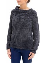 Long Sleeve Chenille Knit Top Dark Grey - Gallery Image 2