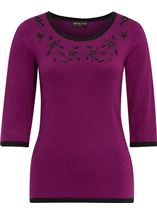 Anna Rose Embellished Knit Top Dk Purple - Gallery Image 1