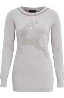 Reindeer Embellished Long Sleeve Knit Top - Grey Marl