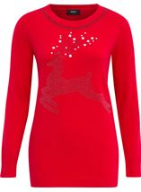 Reindeer Embellished Long Sleeve Knit Top
