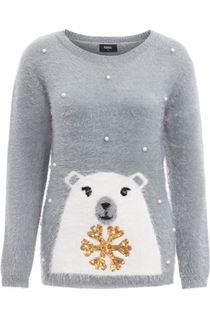 Festive Polar Bear Embellished Knit Top