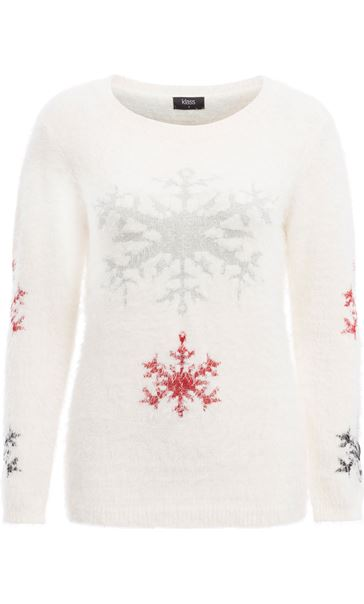 Snowflake Feather Knit Top Ivory