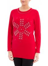Embellished Snowflake Knit Top Red - Gallery Image 2