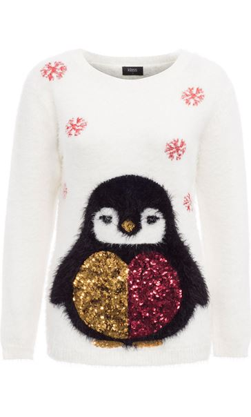 Festive Penguin Feather Knit Top Ivory
