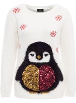 Festive Penguin Feather Knit Top Ivory - Gallery Image 1