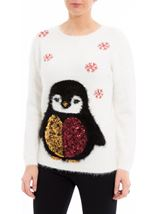 Festive Penguin Feather Knit Top Ivory - Gallery Image 2