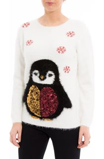 Festive Penguin Feather Knit Top