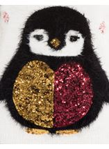 Festive Penguin Feather Knit Top Ivory - Gallery Image 4