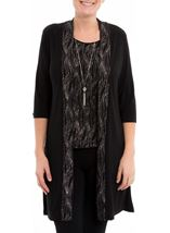 Anna Rose Top Cardigan And Necklace Set Black/Rainbow - Gallery Image 2