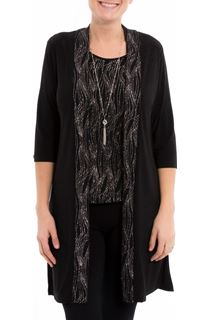Anna Rose Top Cardigan And Necklace Set