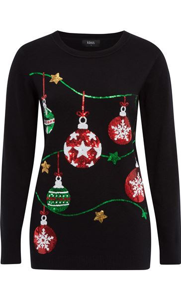 Christmas Bauble Knitted Top Black