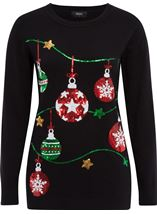 Christmas Bauble Knitted Top Black - Gallery Image 1