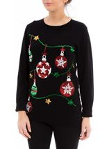 Christmas Bauble Knitted Top Black - Gallery Image 2