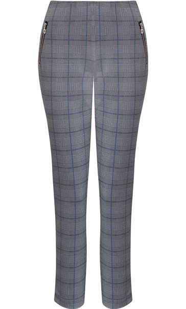 Anna Rose Tapered Check Trousers Navy/Blue