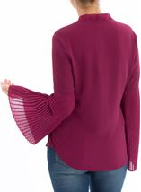 Long Pleated Sleeve Top Grape - Gallery Image 2