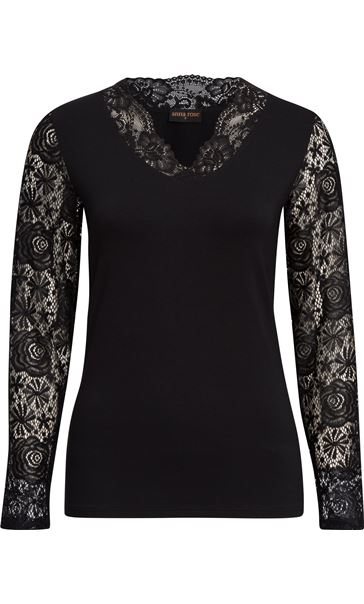 Anna Rose Lace Sleeve Top Black