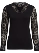 Anna Rose Lace Sleeve Top Black - Gallery Image 1