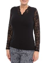 Anna Rose Lace Sleeve Top Black - Gallery Image 2