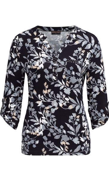Anna Rose Printed Jersey Embellished Top Navy/Blue