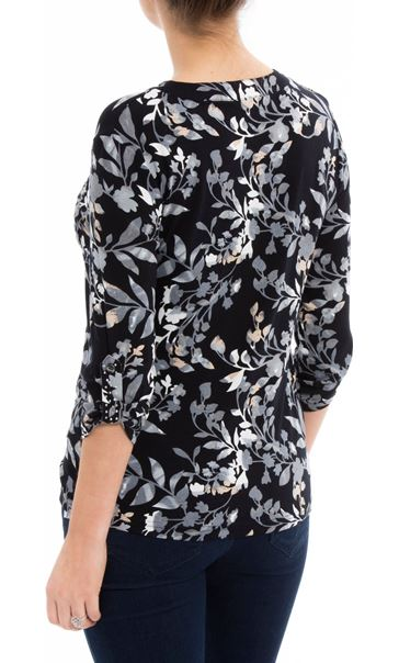 Anna Rose Printed Jersey Embellished Top Navy/Blue - Gallery Image 3