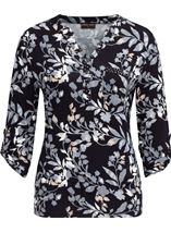 Anna Rose Printed Jersey Embellished Top Navy/Blue - Gallery Image 1