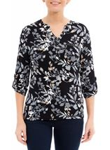 Anna Rose Printed Jersey Embellished Top Navy/Blue - Gallery Image 2