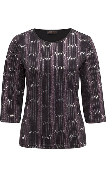 Anna Rose Three Quarter Sleeve Sparkle Top Black/Pink