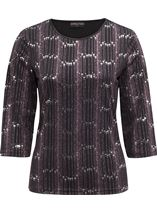 Anna Rose Three Quarter Sleeve Sparkle Top Black/Pink - Gallery Image 1