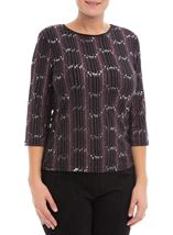 Anna Rose Three Quarter Sleeve Sparkle Top Black/Pink - Gallery Image 2