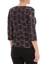 Anna Rose Three Quarter Sleeve Sparkle Top Black/Pink - Gallery Image 3