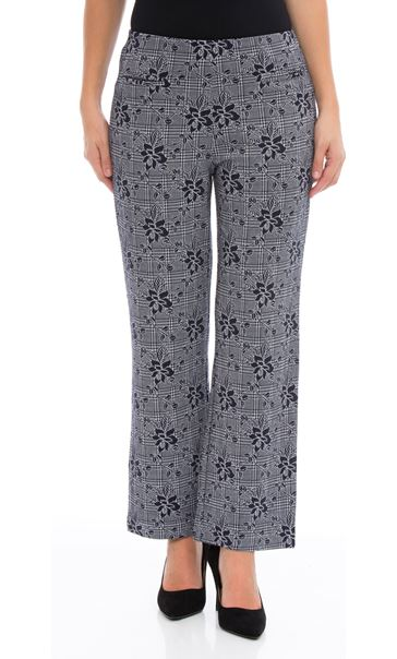 Anna Rose Patterned Trousers Navy