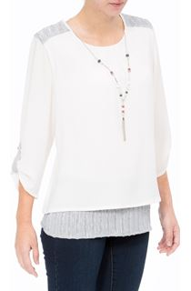 Anna Rose Lined Crinkle Crepe Top With Necklace