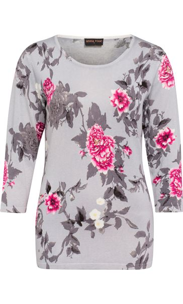 Anna Rose Embellished Floral Knit Top Grey/Pink/Multi