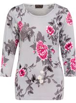 Anna Rose Embellished Floral Knit Top Grey/Pink/Multi - Gallery Image 1
