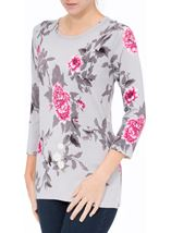 Anna Rose Embellished Floral Knit Top Grey/Pink/Multi - Gallery Image 2