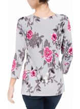 Anna Rose Embellished Floral Knit Top Grey/Pink/Multi - Gallery Image 3
