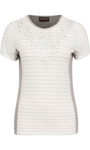 Anna Rose Short Sleeve Shimmer Top Ivory