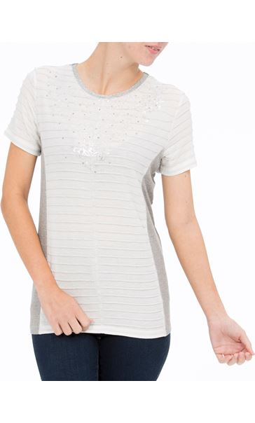 Anna Rose Short Sleeve Shimmer Top Ivory - Gallery Image 2